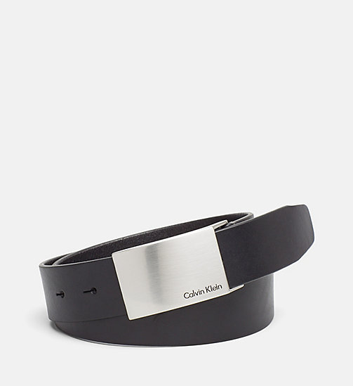 CKJEANS Leather Plaque Belt - BLACK - CK JEANS BELTS - main image