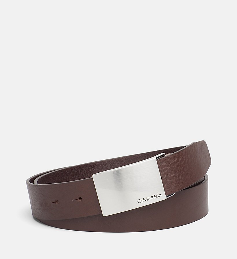 CKJEANS Leather Plaque Belt - DARK BROWN - CK JEANS SHOES & ACCESSORIES - main image