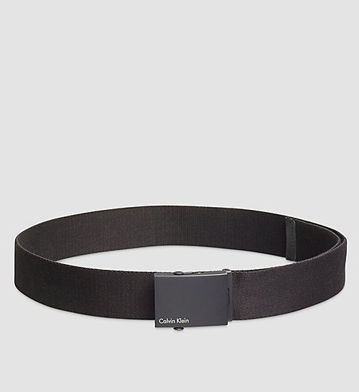 CALVINKLEIN Canvas Plaque Belt - BLACK - CALVIN KLEIN BELTS - main image
