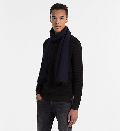 CALVINKLEIN Wool Blend Logo Scarf - NAVY BLUE - CALVIN KLEIN GIFTS FOR HIM - detail image 1