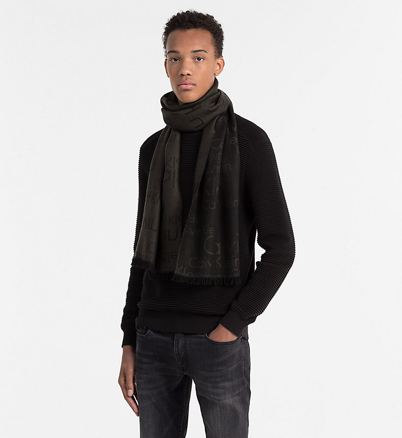 CALVINKLEIN Wool Blend Logo Scarf - BLACK OLIVE - CALVIN KLEIN SHOES & ACCESSORIES - detail image 1