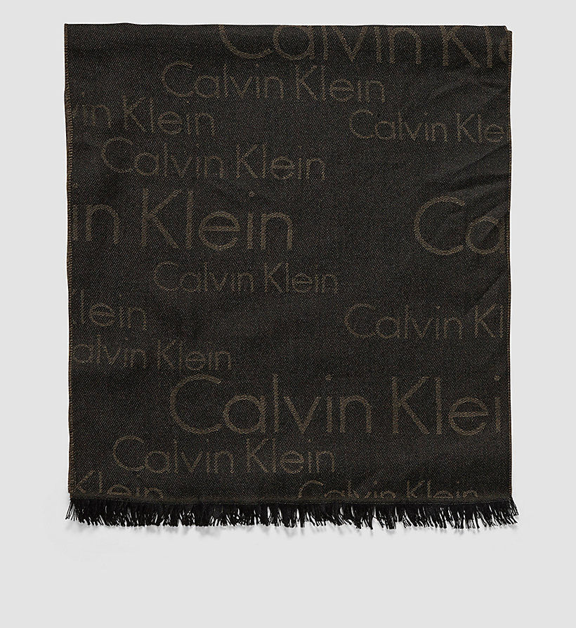 CALVINKLEIN Wool Blend Logo Scarf - BLACK OLIVE - CALVIN KLEIN SHOES & ACCESSORIES - main image