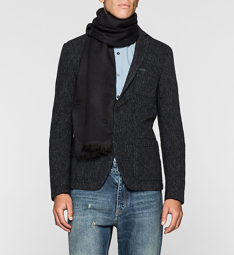 CALVINKLEIN Wool Blend Logo Scarf - BLACK/NAVY - CALVIN KLEIN SHOES & ACCESSORIES - detail image 1