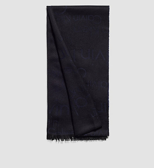 Wool Blend Logo Scarf - BLACK/NAVY - CALVIN KLEIN SHOES & ACCESSORIES - main image