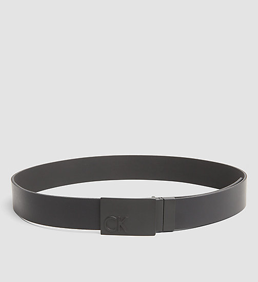 CALVINKLEIN Leather Plaque Reversible Belt - BLACK - CALVIN KLEIN BELTS - main image