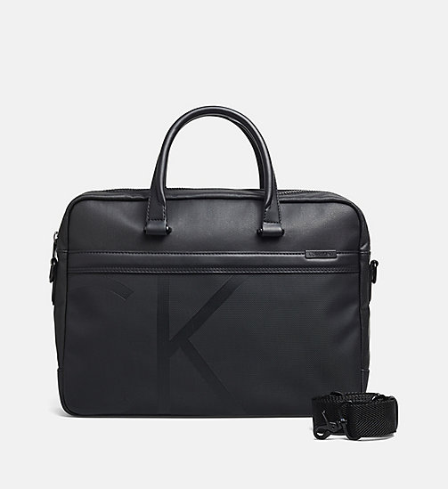 CALVINKLEIN Gecoate canvas laptoptas - BLACK - CALVIN KLEIN LAPTOP TASSEN - main image