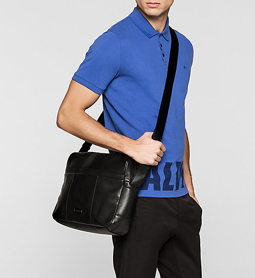 CALVINKLEIN Leather Messenger Bag - BLACK - CALVIN KLEIN MESSENGER BAGS - detail image 1