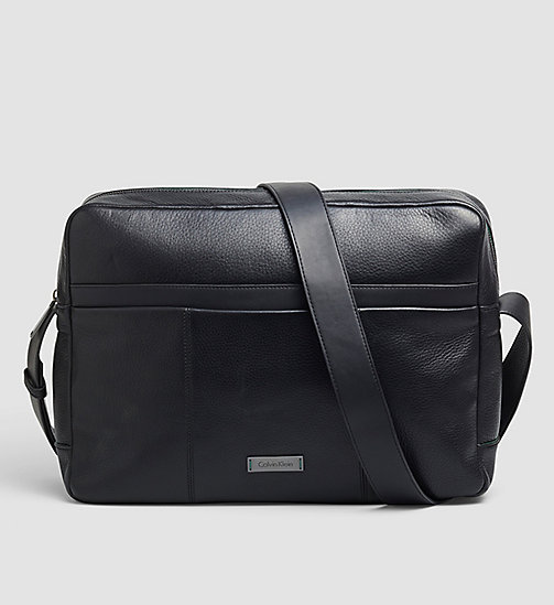 CALVINKLEIN Leather Messenger Bag - BLACK - CALVIN KLEIN MESSENGER BAGS - main image