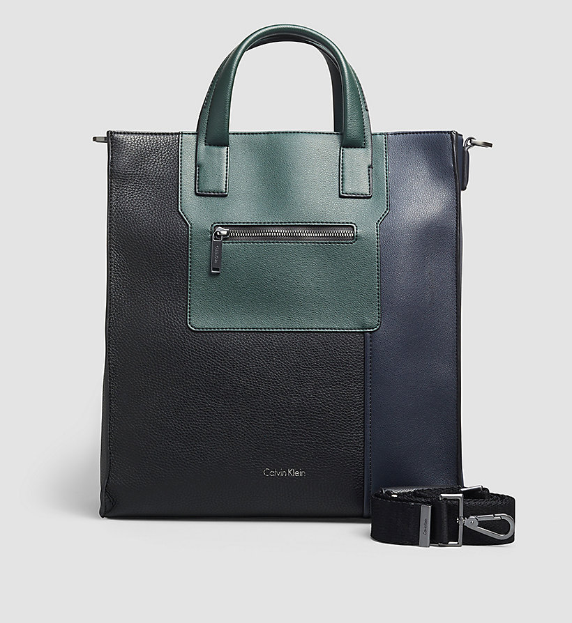 CALVINKLEIN Tote Bag - BLACK/NAVY/SYCAMORE - CALVIN KLEIN SHOES & ACCESSORIES - main image