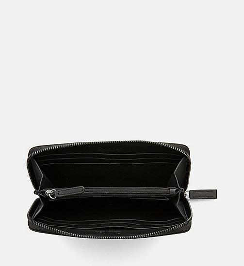 CALVINKLEIN Large Leather Zip-Around Wallet - BLACK - CALVIN KLEIN WALLETS - detail image 1