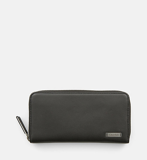 CALVINKLEIN Large Leather Zip-Around Wallet - BLACK - CALVIN KLEIN MODERN CLASSIC - main image