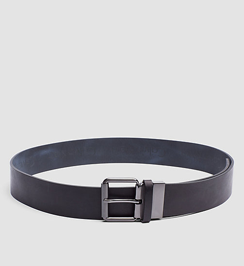 CALVINKLEIN Leather Reversible Logo Belt - BLACK/NAVY - CALVIN KLEIN BELTS - main image