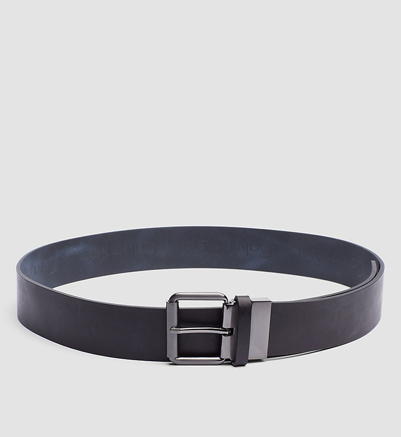 CALVINKLEIN Leather Reversible Logo Belt - BLACK/NAVY - CALVIN KLEIN SHOES & ACCESSORIES - main image