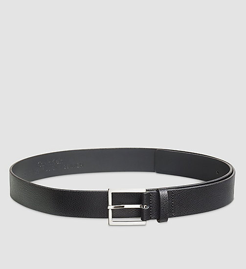 CALVINKLEIN Fine-Textured Leather Belt - BLACK - CALVIN KLEIN BELTS - main image