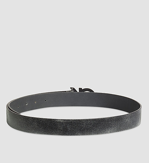 CALVINKLEIN Crackle Leather CK Buckle Belt - BLACK - CALVIN KLEIN BELTS - detail image 1