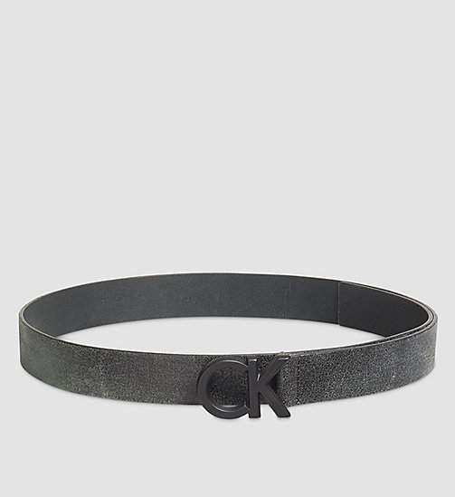 CALVINKLEIN Crackle Leather CK Buckle Belt - BLACK - CALVIN KLEIN BELTS - main image