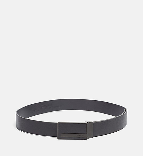 CALVINKLEIN Leather Plaque Belt - BLACK - CALVIN KLEIN BELTS - main image