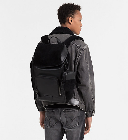 CALVINKLEIN 48 Hour Leather Backpack - BLACK - CALVIN KLEIN CARRIED AWAY - detail image 1