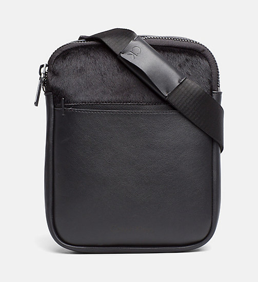 CALVINKLEIN Textured Flat Crossover - BLACK - CALVIN KLEIN CROSSOVER BAGS - main image