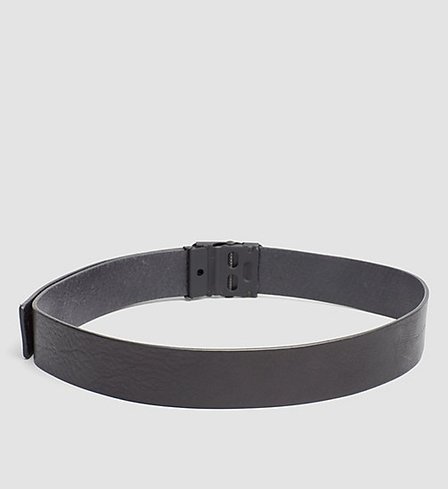 CALVINKLEIN Leather Plaque Belt - BLACK - CALVIN KLEIN BELTS - detail image 1