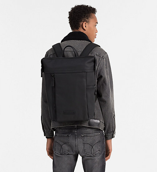 CALVINKLEIN Coated Canvas Backpack - BLACK - CALVIN KLEIN SHOES & ACCESSORIES - detail image 1
