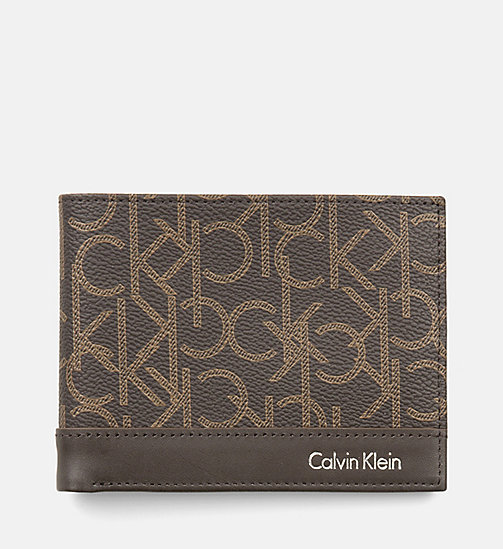 CALVINKLEIN Leather Logo Wallet - BROWN MONOGRAM - CALVIN KLEIN SHOES & ACCESSORIES - main image