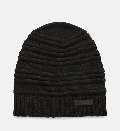 CALVINKLEIN Wool Blend Striped Hat - BLACK - CALVIN KLEIN HATS - main image