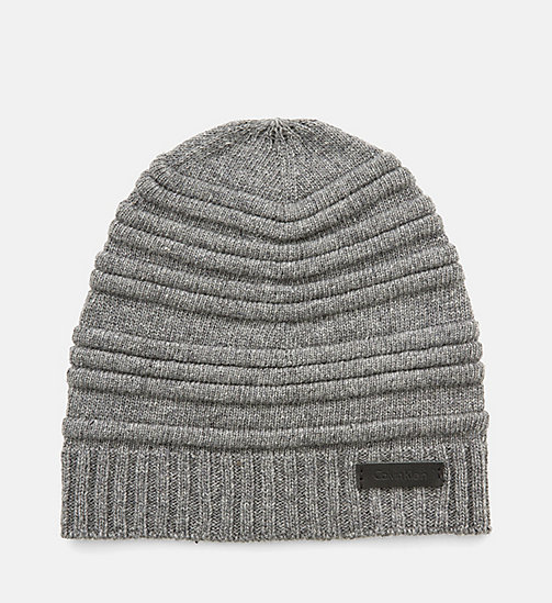 CALVINKLEIN Wool Blend Striped Hat - STEEL GREY - CALVIN KLEIN COLD COMFORTS - main image