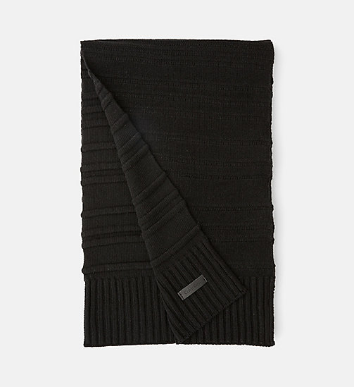 CALVINKLEIN Wool Blend Striped Scarf - BLACK - CALVIN KLEIN SCARVES - main image