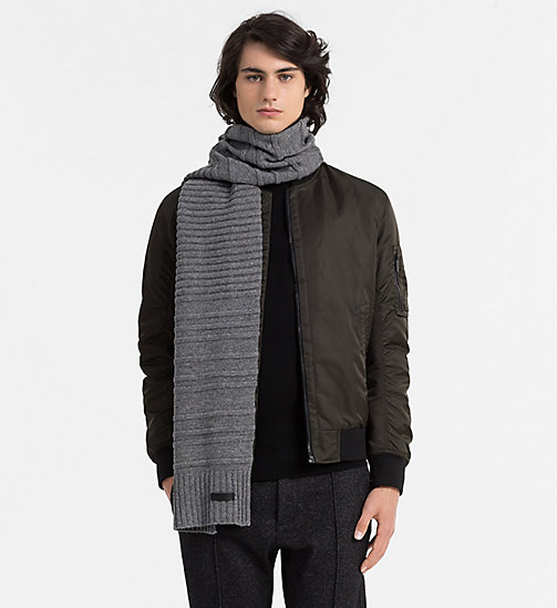 CALVINKLEIN Wool Blend Striped Scarf - STEEL GREY - CALVIN KLEIN COLD COMFORTS - detail image 1