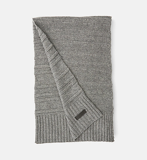 CALVINKLEIN Wool Blend Striped Scarf - STEEL GREY - CALVIN KLEIN COLD COMFORTS - main image