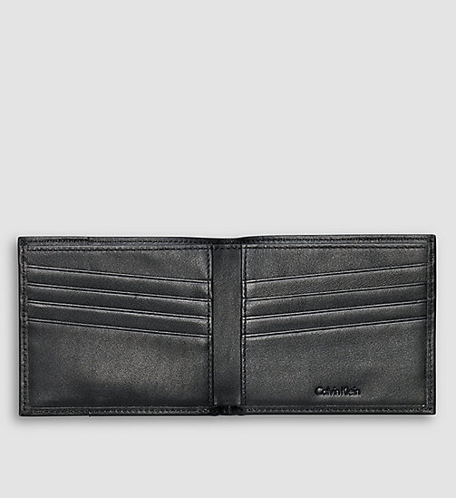 CALVINKLEIN Leather Slimfold Wallet - BLACK - CALVIN KLEIN  - detail image 1