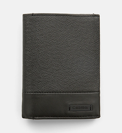 CALVINKLEIN Leather Trifold Wallet - BLACK - CALVIN KLEIN WALLETS - main image