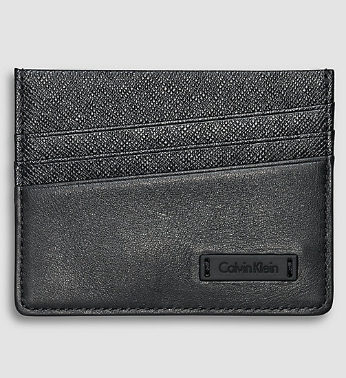 CALVINKLEIN Leather Cardholder - BLACK - CALVIN KLEIN GIFTS FOR HIM - main image
