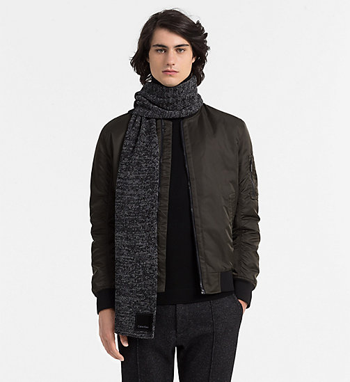 CALVIN KLEIN JEANS Wool Blend Scarf - BLACK/STEEL GREY - CALVIN KLEIN JEANS ACCESSORIES - detail image 1