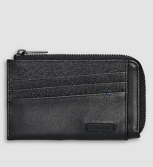 CALVINKLEIN Leather Zip Cardholder - BLACK - CALVIN KLEIN WALLETS - main image
