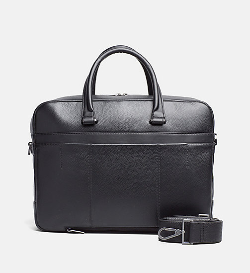 CALVINKLEIN Leather Laptop Bag - BLACK - CALVIN KLEIN SHOES & ACCESSORIES - main image