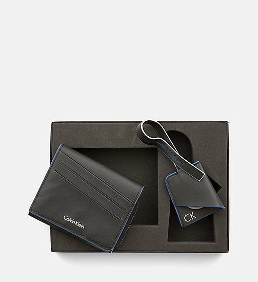 CALVINKLEIN Leather Wallet and Bag Charm Gift Box - BLACK - CALVIN KLEIN GIFTS FOR HIM - main image