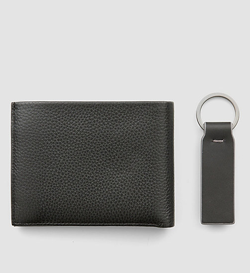 CALVINKLEIN Leather Wallet and Keyring Gift Box - BLACK - CALVIN KLEIN WALLETS - detail image 1