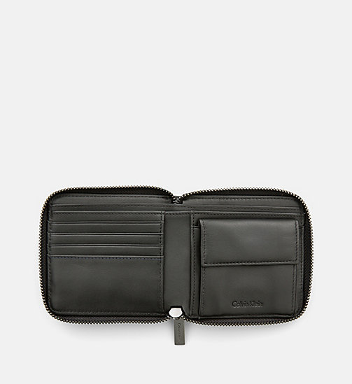 CALVINKLEIN Leather Zip-Around Wallet - BLACK - CALVIN KLEIN WALLETS - detail image 1