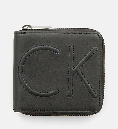 CALVINKLEIN Leather Zip-Around Wallet - BLACK - CALVIN KLEIN WALLETS - main image