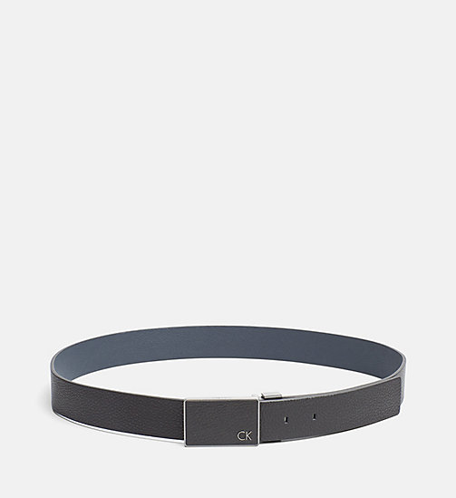 CALVINKLEIN Reversible Leather Belt - BLACK/BLUE NIGHT - CALVIN KLEIN BELTS - main image