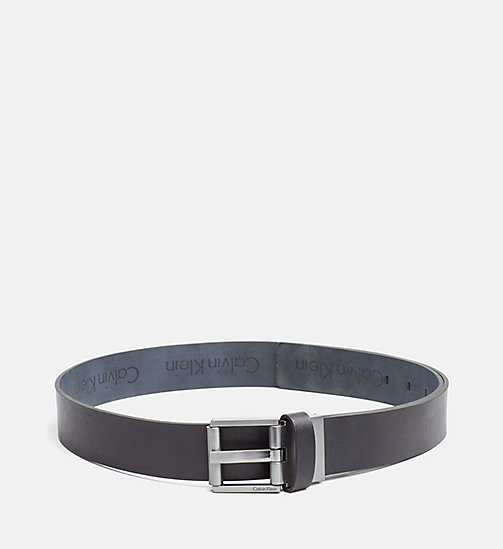 CALVINKLEIN Reversible Leather Logo Belt - BLACK/BLUE NIGHT - CALVIN KLEIN BELTS - main image