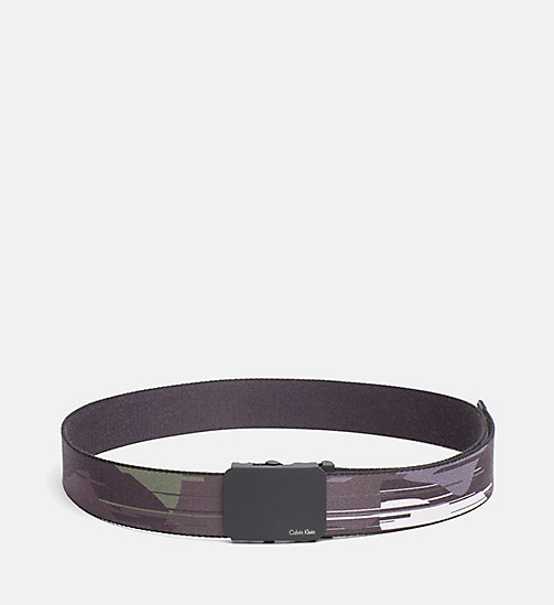 CALVINKLEIN Canvas Plaque Belt - CAMO GLITCH GREYSCALE - CALVIN KLEIN BELTS - main image