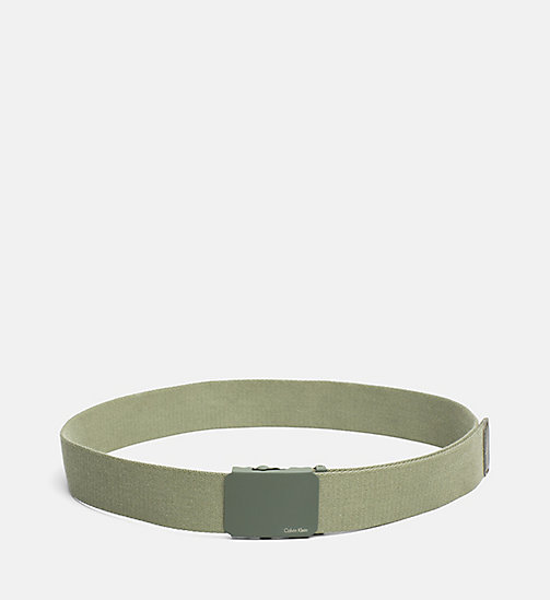 CALVINKLEIN Canvas Plaque Belt - IVY - CALVIN KLEIN BELTS - main image