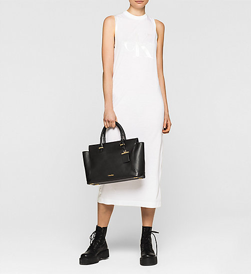 Leather Tote Bag - BLACK - CALVIN KLEIN SHOES & ACCESSORIES - detail image 1