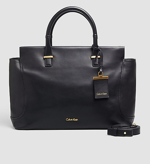 CALVINKLEIN Leather Tote Bag - BLACK - CALVIN KLEIN BAGS - main image
