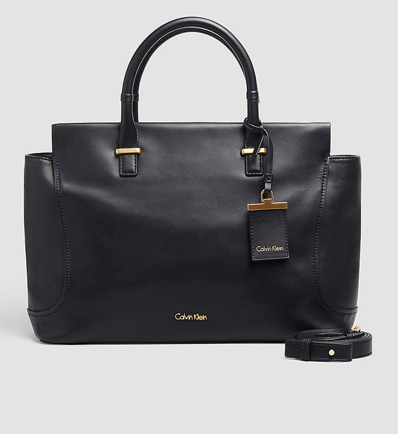 CALVINKLEIN Leather Tote Bag - BLACK - CALVIN KLEIN SHOES & ACCESSORIES - main image