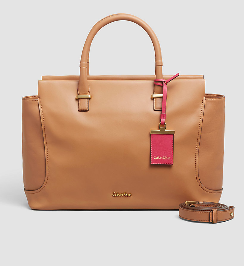 CALVINKLEIN Leather Tote Bag - CARAMEL - CALVIN KLEIN SHOES & ACCESSORIES - main image