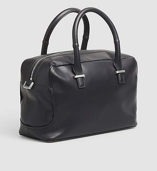 CALVINKLEIN Leather Duffle Bag - BLACK - CALVIN KLEIN DUFFLE BAGS - detail image 1